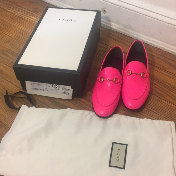 4ba4b6ad19d Gucci Brixton Neon Pink Leather Loafer